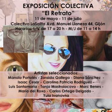 cartel-exposición-retrato-Gijón